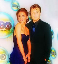 Stana Katic and Nathan Fillion when your tie almost matches her dress something YOU wanna say?#DATING?