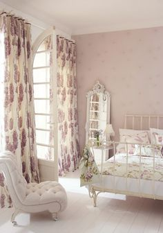 EV lavender and white bedroom, sophisticated fabrics (this particular one comes in wallpaper, too, we could wallpaper the nook), can grow with it.