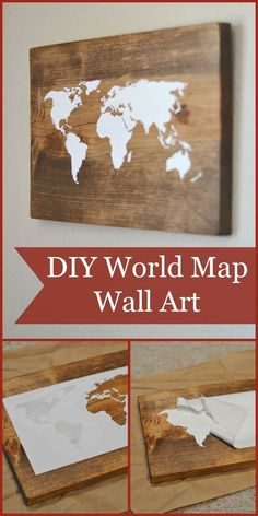 World Map Wall Art Tutorial (using the Silhouette Cameo) Could be used with any picture!DIY World Map Wall Art Tutorial (using the Silhouette Cameo) Could be used with any picture! Diy Wand, Diy Wall Art, Diy Wall Decor, Wall Decorations, Home Decor, Diy Projects To Try, Craft Projects, Project Ideas, Pallet Projects