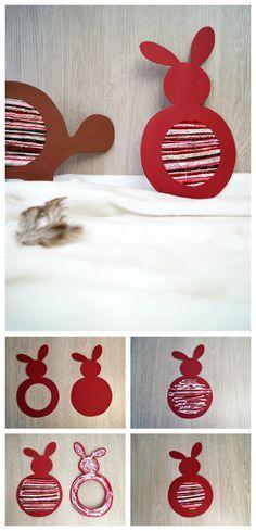 DIY Anleitung zum Hasen und der Schildkröte: Kinder basteln mit Faden und Papier für Ostern oder einfach so. | von Fantasiewerk