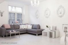 Grey and white. Decoration, Room Inspiration, Grey And White, Sweet Home, Couch, Coconut, Furniture, Moose, Living Rooms