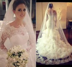 2015 Vestido Novia Vintage Wedding Dresses with Sheer Lace Back Mermaid Jewel Long Sleeve Ivory Bridal Gowns Dress for Wedding Arabic Sexy Mermaid Long Sleeve Jewel Online with $180.58/Piece on Magicdress2011's Store | DHgate.com