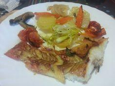Gallineta al forn amb verduretes
