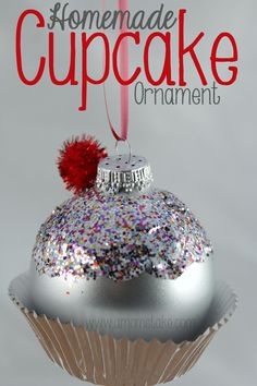 Homemade Cupcake Christmas Ornament DIY - So easy that this makes a perfect gift or decoration you can make for the holidays. Tulip Slick Fabric Paint in Neon Colors, *Scribbles Red Paint *Christmas Ornaments (colors work best) *Baker's Twine Kids Christmas Ornaments, Christmas Projects, Holiday Fun, Christmas Holidays, Christmas Decorations, Felt Christmas, Christmas Ideas, Homemade Ornaments, Homemade Christmas Gifts