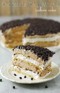 A mouthwatering Chocolate Chip Mocha Icebox Cake recipe with layers of chocolate chip cookies and creamy mocha mousse!