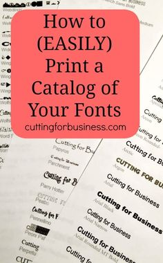 How to Print a Catalog of Your Fonts - Great for Silhouette Cameo and Cricut crafters. By cuttingforbusines. Inkscape Tutorials, Cricut Tutorials, Computer Font, Computer Tips, Silhouette Cameo Projects, Silhouette Fonts, Free Silhouette, Cricut Craft Room, Cricut Fonts
