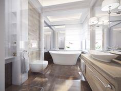 Wystrój łazienki w kamieniu. Eleganckie wnętrze w stylu Hamptons z wolno stojącą…