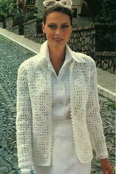 Classic PDF crochet sample to make a womans Filet Crochet Cardigan Jacket with picot trim. Circa Sample features a chart for working the filet crochet. Labored in sport weight yarn on a US Gilet Crochet, Crochet Coat, Crochet Cardigan Pattern, Crochet Jacket, Crochet Clothes, Crochet Fashion, Vintage Crochet, Jackets For Women, Jackets