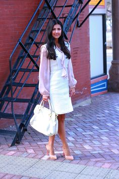 Rebecca Taylor tweed dress + Louboutin pumps + Loft blouse + Marc Jacobs bag