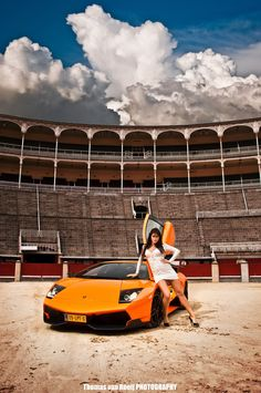 The owner of this Lamborghini wanted me to come shoot his car in Madrid, Spain, in March 2011. We got loads of shot at several amazing locations. The 'Plaza de Toros Las Ventas' (Madrid's world famous bullring) definitely was one of the most impressive locations we got to shoot at.  This is a shot with the model, Vanesa Garcia, on top of the car.