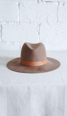 Janessa Leone Tan Hat with Leather Brim. 000c3f5c5a19