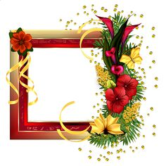 Red Gold Frame with Field Flowers