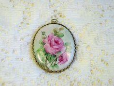 Vintage Pink Roses Hand Painted Porcelain Pendant by BlackRain4
