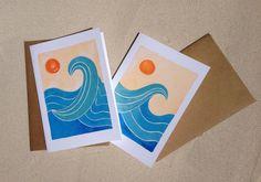 """Ola Notecards - Surf Notecards - conjunto de ocho (3 1/2 """"X 5"""") - Surf y sol - tarjetas de agradecimiento - boda de playa"""