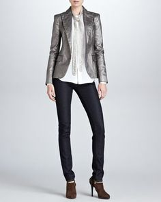 Danice Metallic Blazer, Abrielle Beaded-Tie Silk Blouse & 105 Super Stretch Cigarette Jeans by Ralph Lauren Black Label at Neiman Marcus.