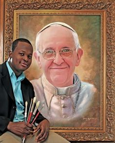 Pape François - Pope Francis - Papa Francesco - Papa Francisco - Jamaal Rolle, The Celebrity Artist and cartoonist is in Rome to present this life-like portrait to Pope Francis on March Cultural Experience, Oil Portrait, Papa Francisco, Michelangelo, Great Artists, Mona Lisa, Presents, Culture, Pope Francis