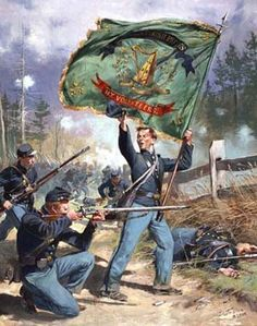37th New York Volunteers - Irish Rifles- Don Troiani.  The color bearer of the Irish Rifles waves the distinctive green silk with gold embroidery Irish flag of the regiment.
