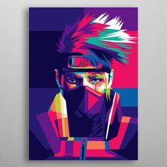 Kakashi from character Naruto animation in pop art style metal poster Kakashi And Obito, Naruto Kakashi, Anime Naruto, Pop Art Wallpaper, Naruto Wallpaper, Naruto Painting, Dragon Ball, Naruto Drawings, Pop Art Posters