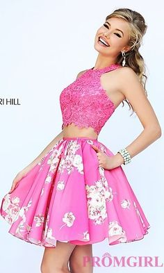 Short Two Piece Print Dress by Sherri Hill at PromGirl.com