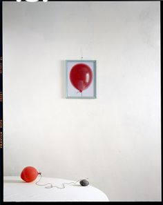 Available for sale from Wall Space Gallery, John Chervinsky, Balloon, Rock on Table with Painting Archival Pigment Print, 24 × 30 in Photography Collage, Framing Photography, Conceptual Photography, Still Life Photography, Portrait Photography, Red Balloon, Balloons, Kitsch, Kind Of Blue