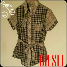 """Spotted while shopping on Poshmark: """"Diesel, short sleeves, check pattern,""""! #poshmark #fashion #shopping #style #Diesel #Tops"""