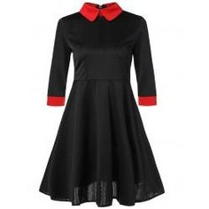 Contrast Trim Fit and Flare Dress