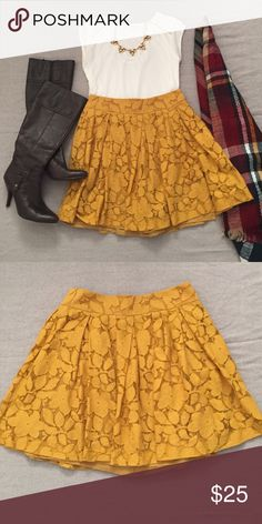 "Yellow lace skater skirt Mustard yellow skater skirt is fall perfection. Back zip. Waist is 14"" and length is 17.5"". In EUC with no visible imperfections. Grab your boots and get ready to twirl! LOFT Skirts Circle & Skater"