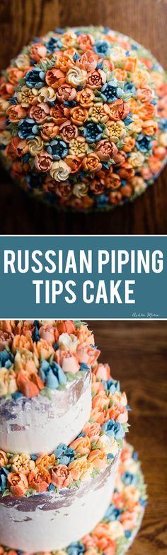 buttercream wedding cake using Russian piping tips