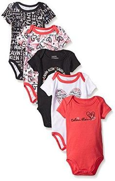 Calvin Klein Baby-Girls 5 Pack Bodysuit Printed and Solid Black 0-3 Months