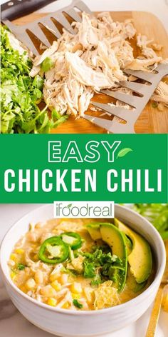 Healthy White Chicken Chili is a 30 minute meal with chicken breast, white beans, corn, cumin and yogurt. This healthy comfort food is easy to make on the stove, crockpot or Instant Pot. A true crowd pleaser! Healthy Comfort Food, Healthy Family Meals, Healthy Chicken Recipes, Healthy Dinner Recipes, Crockpot Recipes, Healthy Dinners, Yummy Recipes, Healthy Chili, Healthy Eats