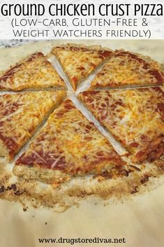 Ground Chicken Crust Pizza – Drugstore Divas If you're looking for a good keto pizza recipe, try this Ground Chicken Crust Pizza. It's low carb, gluten-free, and Weight Watchers friendly. Get the recipe at www. Low Carb Crockpot Chicken, Stew Chicken Recipe, Ground Chicken Recipes, Cream Of Chicken Soup, Keto Chicken, Grilled Chicken, Pizza Recipes, Dinner Recipes, Keto Recipes