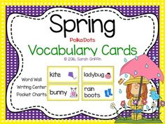 17 colorful Spring vocabulary word cards! Bird, rain, bunny, rainbow, rain boots, raincoat, flowers, butterfly, ladybug, sun, kite, umbrella, snail, Spring, bee, and chick.