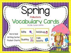 17 colorful Spring vocabulary word cards! Bird, rain, bunny, rainbow, rain boots, raincoat, flowers, butterfly, ladybug, sun, kite, umbrella, snail, Spring, bee, and chick.