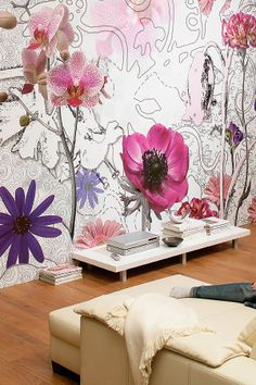 I like the Idea of doing watercolor or graffiti flowers as wall accent! -AJ