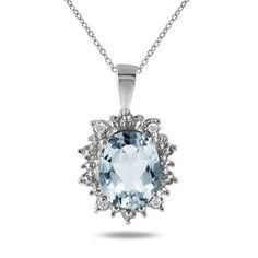 Deal of the Day - 2.50 Carat All Natural Genuine Aquamarine and Diamond Pendant in .925 Sterling Silver - SPP51341AQ