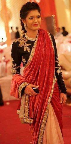 Velvet black embellished saree blouse - blouses, crochet, jeans, wrap, chic, peplum blouse *ad