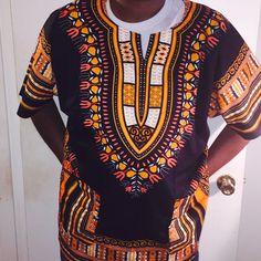 AFRICAN Black Orange DASHIKI PRINT MEN women tribal ETHNIC caftan UNISEX hippie #Dashiki
