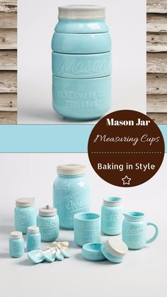 I am in love with these Mason Jar measuring cups. The whole aqua blue mason jar measuring and baking set in on my wish list! #affiliate