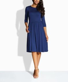 9b74216c12fa Another great find on #zulily! Navy Pocket A-Line Dress #zulilyfinds