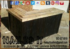 Pallet wood L-Shape bar with double bottom shelfs & undercounter fridge compartment. Two-tone finish