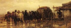 Schreyer_Adolphe_Hitching_Horses_To_The_Wagon