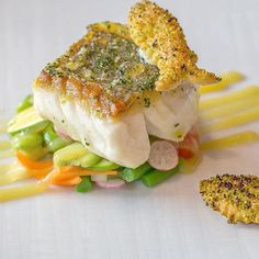 Roasted fillet of North Sea hake on a crisp vegetable salad with lemon and lime. by culinarychefsportal Vegetable Crisps, Vegetable Salad, Hake Recipes, Culinary Chef, North Sea, Salmon Burgers, Gourmet Recipes, Food To Make, Roast