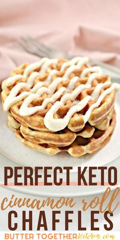 Enjoy the best keto cinnamon roll chaffle you can make! This recipe from Butter Together Kitchen is a healthy way to enjoy cinnamon rolls you loved so much! With a cinnamon sugar coating and the sweet icing, this chaffle recipe will become a favorite. #ketocinnamonrollchaffle #ketochaffle #ketodessertchaffle #ketocinnamonroll #chaffles #keto #lowcarb #sugarfree #healthy Low Carb Breakfast, Perfect Breakfast, Breakfast For Kids, Breakfast Recipes, Dessert Recipes, Desserts, Low Carb Keto, Low Carb Recipes, Keto Cinnamon Rolls