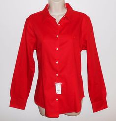 Brooks Brothers 12 L Blouse NEW Red Fitted Golden Fleece NWT Shirt…