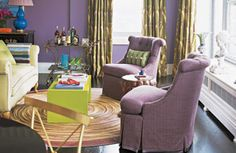 Mora Praise in Halls - Decoration 2019 Eclectic Living Room, Living Room Designs, Living Spaces, Living Rooms, Pastel Interior, Purple Interior, Purple Rooms, Purple Walls, Green Curtains