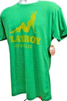 NEW PLAYBOY BUNNY Los Angeles Green Yellow Vintage Look Graphic T Shirt Medium