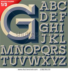 Vector illustration of old school beveled alphabet. Simple colored version. Upper case by dgbomb, via ShutterStock