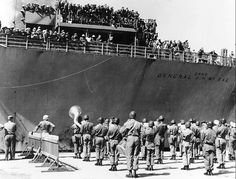 (The disarmed ship in MSTS service, here with the arrival of the Kagnew battalion in South Korea in 1951. This WWII-veteran ship was deactivated in 1954 and scrapped in Taiwan in 1987.)