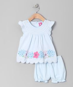 Take a look at this Light Blue Floral Scalloped Dress & Bloomers - Infant on zulily today!