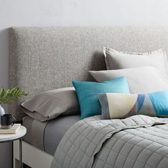 Our Andes Deco Headboard is loved for its clean lines and thick padding. Standing on solid wood legs and adjustable to two heights, it comes in your choice of fabrics and pairs with our bedframes, making it easy to create a complete bedroom look. Oversized Furniture, Modern Furniture, White Furniture, Furniture Ideas, Reclaimed Wood Beds, Rustic Side Table, Upholstered Beds, Bedding Shop, West Elm